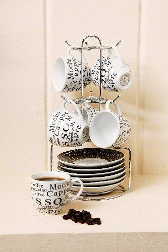 Juego de tazas de cafe espresso con rack
